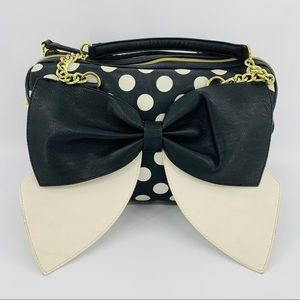 Betsey Johnson Black & White Polka Dot Bow Bag